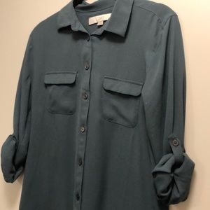 Tops - Green tab sleeve utility blouse